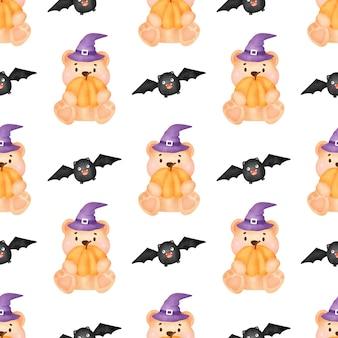 Padrões sem emenda de halloween com bruxa fofa e elementos de halloween