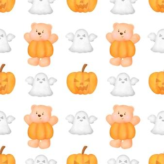 Padrões sem emenda de halloween com um fofo urso de pelúcia.