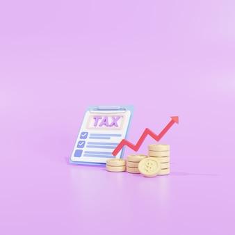 Pagamento de impostos e conceito de imposto empresarial. dinheiro, moedas, gráfico e formulários de impostos sobre fundo roxo. ilustração 3d