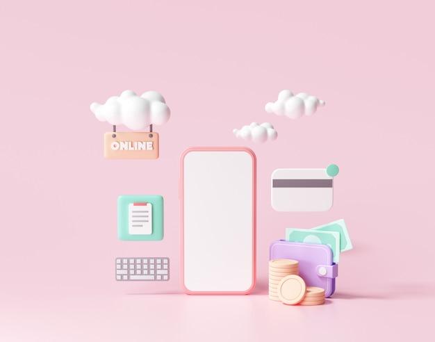 Pagamento de renderização 3d via conceito de cartão de crédito. transação de pagamento online segura com smartphone. internet banking via cartão de crédito no celular