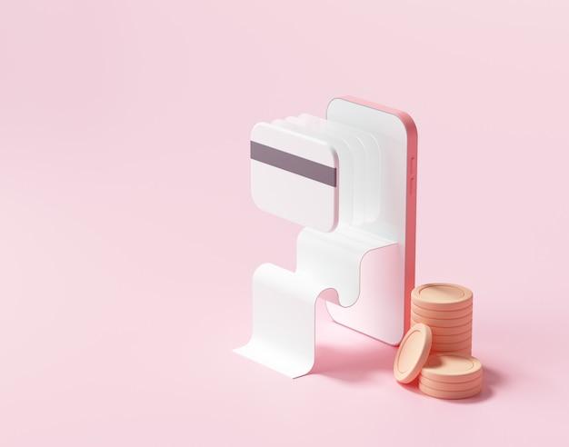 Pagamento de renderização 3d via conceito de cartão de crédito.