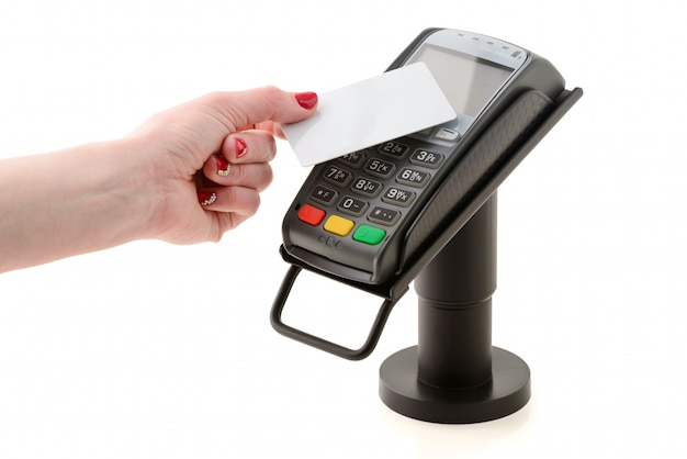 Pagamento por cartão sem contato através do terminal pos