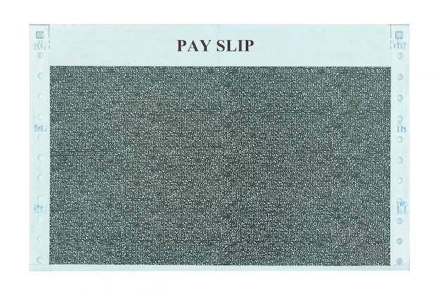 Pagamento recibo e deslizamento de salário isolado no branco