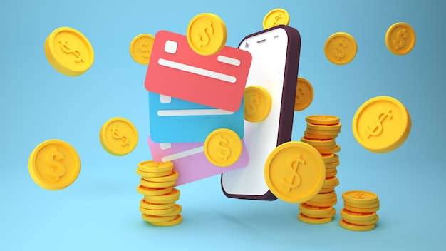 Pagamento sem contato sem fio, pagamento por cartão de crédito no smartphone d renderização