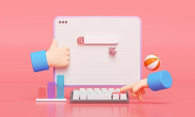 Página da web da barra de pesquisa. digitação de mão para pesquisar no conceito de pesquisa da web. renderização 3d