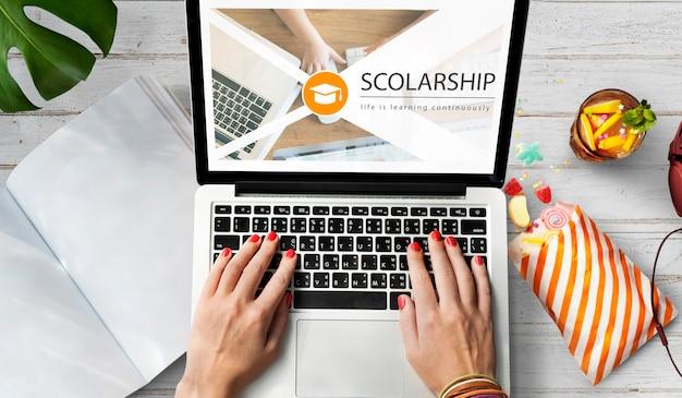 Página da web de educação online de ensino à distância