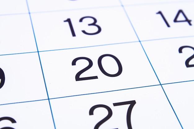 Página de calendário close-up.
