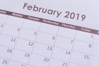 Página de calendário de fevereiro de 2019 fundo