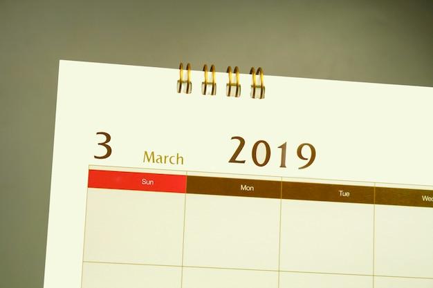 Página de calendário do mês