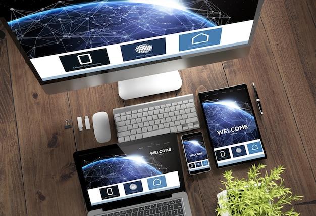 Página de destino on-line de dispositivos de madeira para desktop responsiva