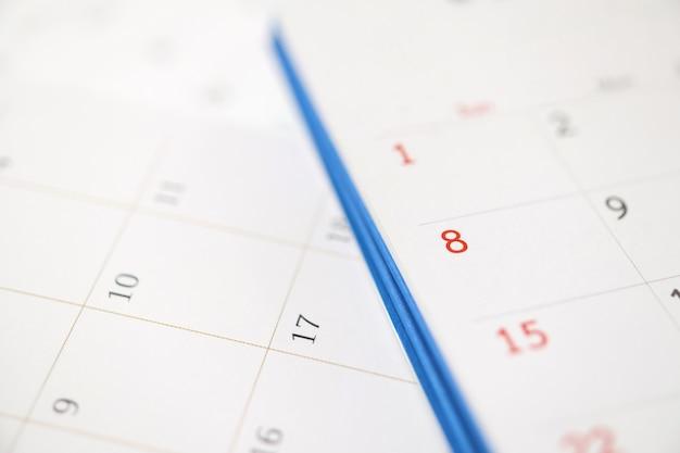 Página do calendário close-up plano de fundo planejamento de negócios compromisso reunião conceito