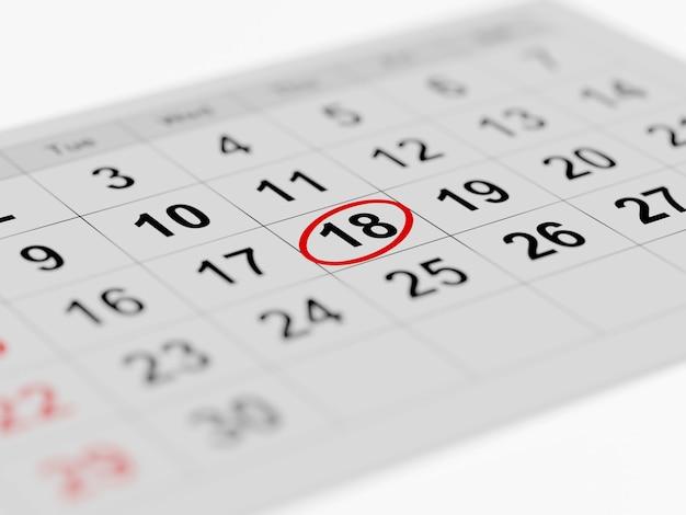 Página do calendário mensal marcada com um dia para trabalhar