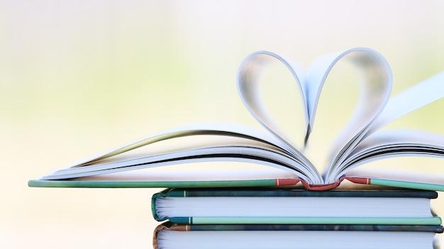 Página do livro em forma de coração