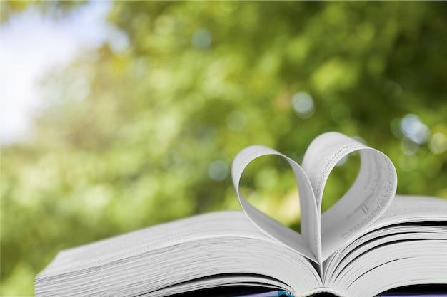 Página do livro em formato de coração no fundo