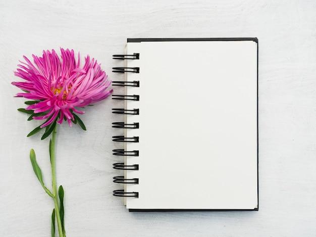 Página e flor do bloco de notas