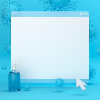 Página em branco do navegador cercada por modelos de coronavírus e desinfetante