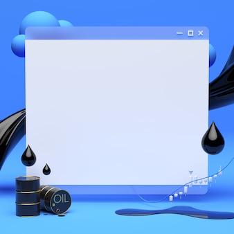 Página em branco do navegador com fluxo de óleo e barris de óleo
