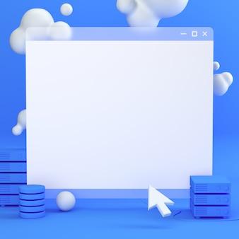 Página em branco do navegador com nuvens e um cursor