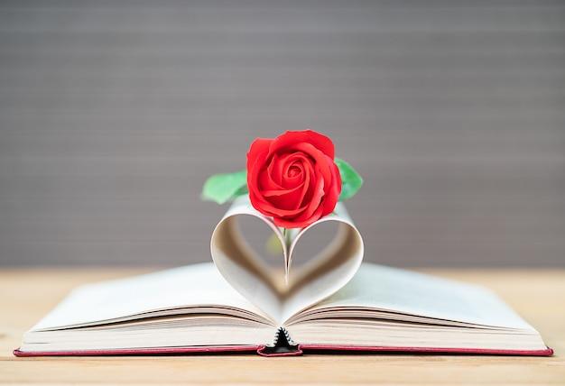 Páginas do livro curvado forma de coração e rosa vermelha