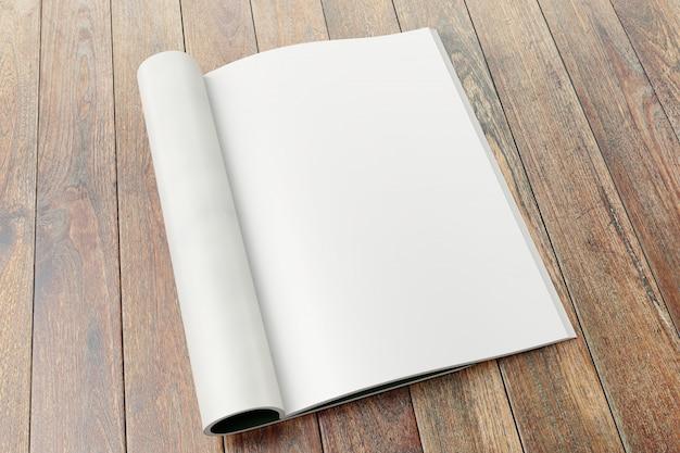 Páginas em branco da revista no fundo de madeira.