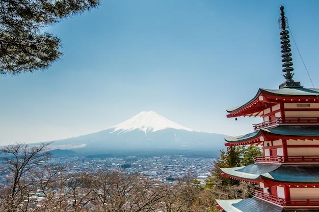 Pagode de chureito e montanha fuji
