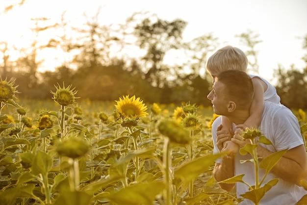 Pai com filho nas costas, andando em um campo verde de girassóis florescendo ao pôr do sol