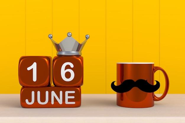 Pai feliz dia com café com bigode e coroa em fundo amarelo de madeira, espaço de cópia, renderização em 3d