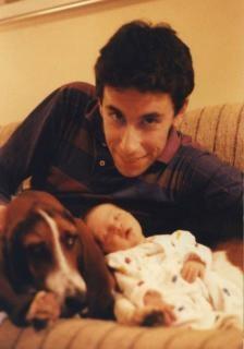 Pai, filha e cão