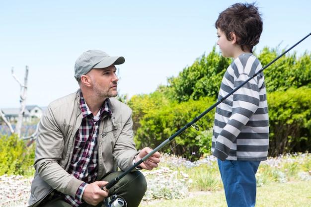 Pai filho, pesca, junto