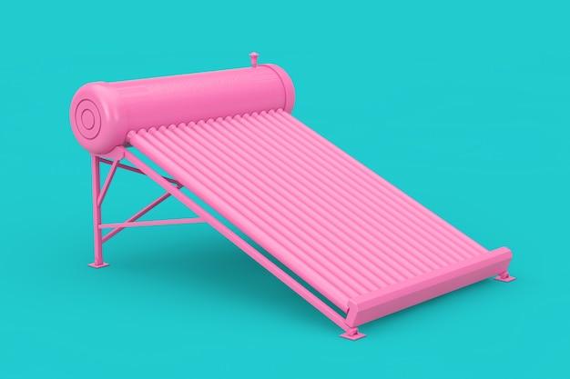 Painéis aquecedores solares de água rosa em estilo duotônico em um fundo azul. renderização 3d