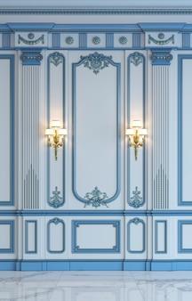 Painéis de parede clássicos em tons azuis com douradura. renderização em 3d