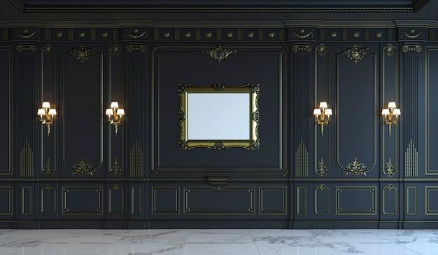 Painéis de parede preto no estilo clássico com douração. renderização em 3d