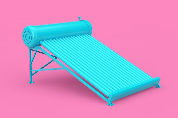 Painéis do aquecedor solar de água azul no estilo duotone em um fundo rosa. renderização 3d