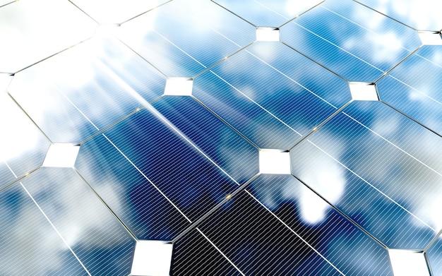 Painéis fotovoltaicos azuis com reflexo de céu nublado. renderização 3d.