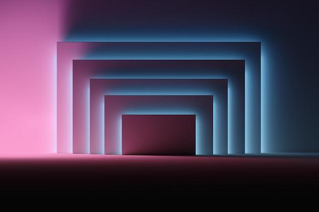 Painéis iluminados com luz neon azul e rosa sobre a superfície fosca escura.