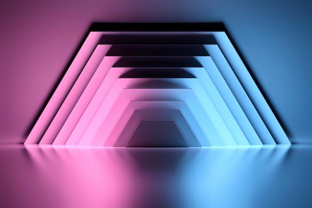 Painéis meio hexagonais pretos iluminados com luz neon azul e rosa sobre a superfície reflexiva brilhante.