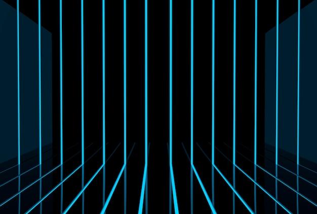 Painéis pretos futuristas modernos sobre fundo azul claro.