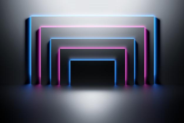 Painéis pretos iluminados com luz neon azul e rosa sobre a superfície escura e brilhante.