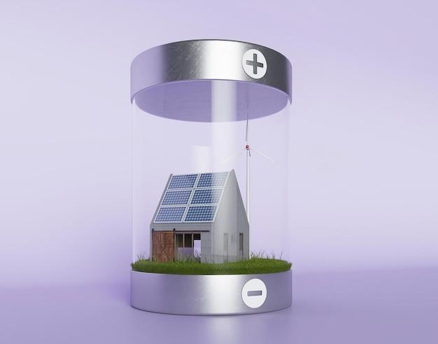 Painéis solares 3d