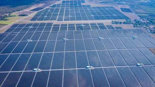 Painéis solares, ásia, maior, planta poder solar, indústria, acima, vista