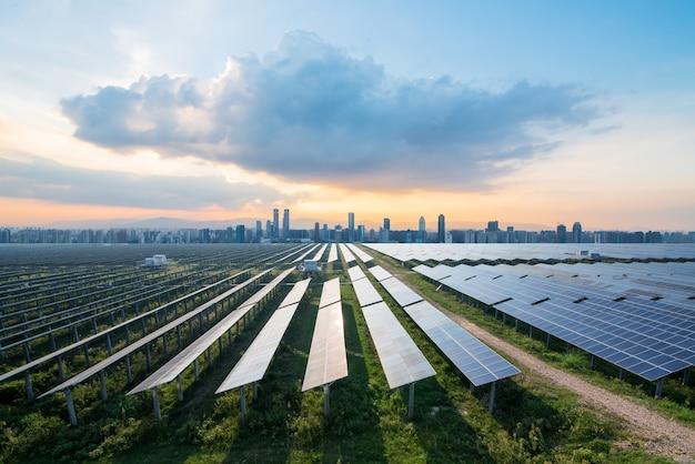 Painéis solares, com, cityscape, de, cingapura