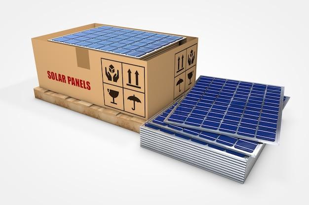 Painéis solares dentro de caixa de papelão em palete de madeira