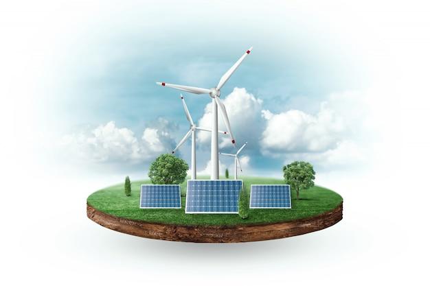 Painéis solares e turbinas eólicas em frente ao horizonte
