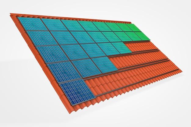 Painéis solares em uma ilustração 3d do telhado de telha