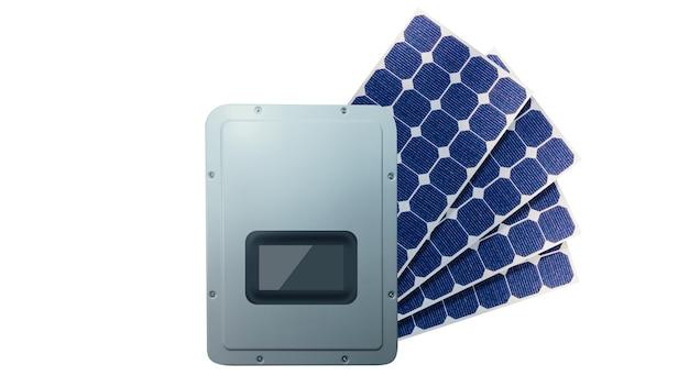 Painéis solares fotovoltaicos e inversor 3d isolados no fundo branco. espaço para texto