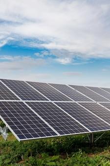 Painéis solares fotovoltaicos em um campo