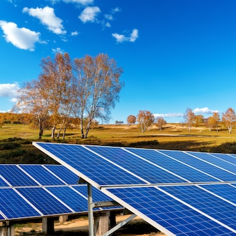 Painéis solares na pradaria de outono