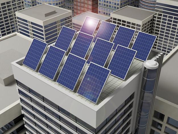 Painéis solares no telhado de um arranha-céu.