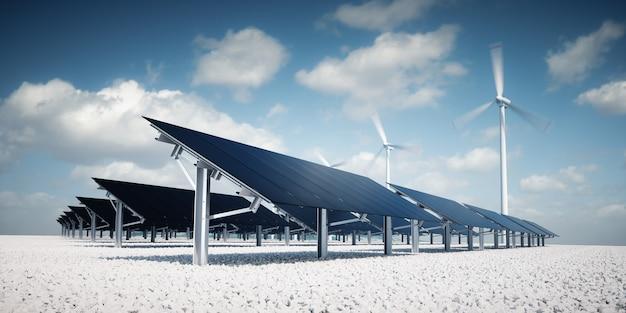 Painéis solares pretos estéticos modernos e futuristas da grande estação de energia fotovoltaica com turbinas eólicas no fundo em clima de tarde ensolarada agradável com céu azul parcialmente nublado. renderização 3d.