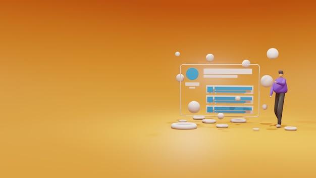 Painel de controle de site de ilustração 3d no conceito de janela do navegador